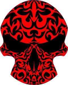 red tribal skull bumper sticker