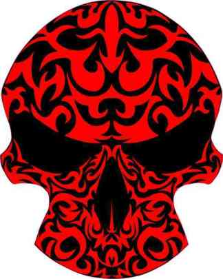 red tribal skull bumper sticker