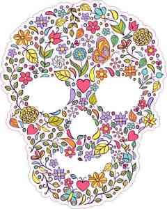 floral skull bumper sticker
