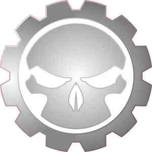 gray gear skull bumper sticker