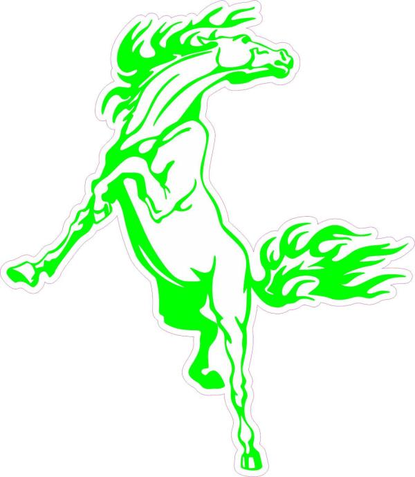 green rearing horse bumper sticker