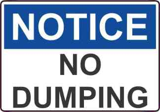 Notice No Dumping decal