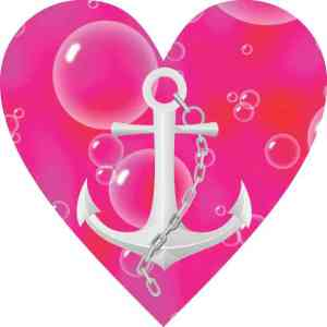 Pink and Red Anchor Heart Bumper Sticker