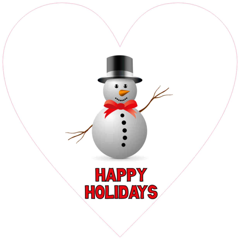 happy holidays heart sticker