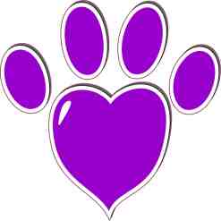 Purple Heart Paw Print Bumper Sticker