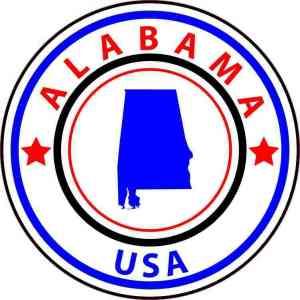 Circle Alabama State Sticker