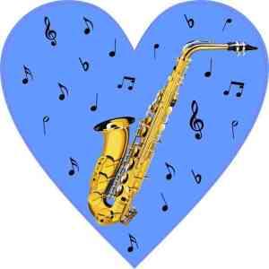 Blue Saxophone Heart Sticker
