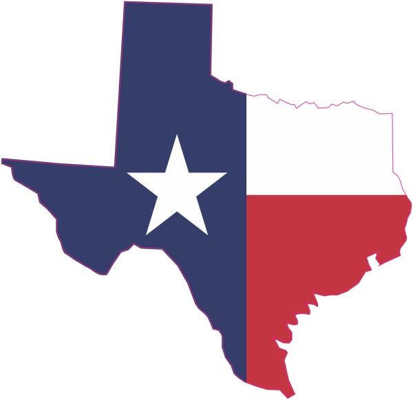 Inside Adhesive Die Cut Texas Flag Sticker