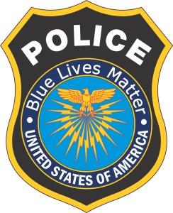 Inside Adhesive Blue Lives Matter Police Badge Sticker