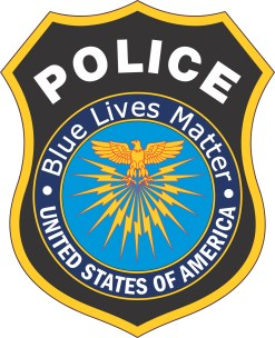 Inside Adhesive Blue Lives Matter Police Badge Sticker