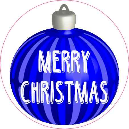 Blue Ornament Merry Christmas Sticker