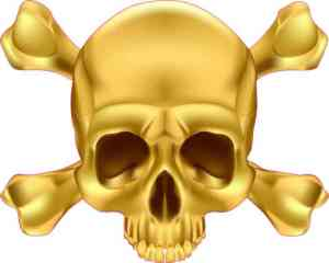 Gold Skull and Crossbones Sticker