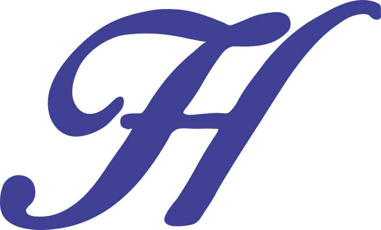5in x 3in Blue Cursive H Monogram Sticker Fancy Vinyl ...