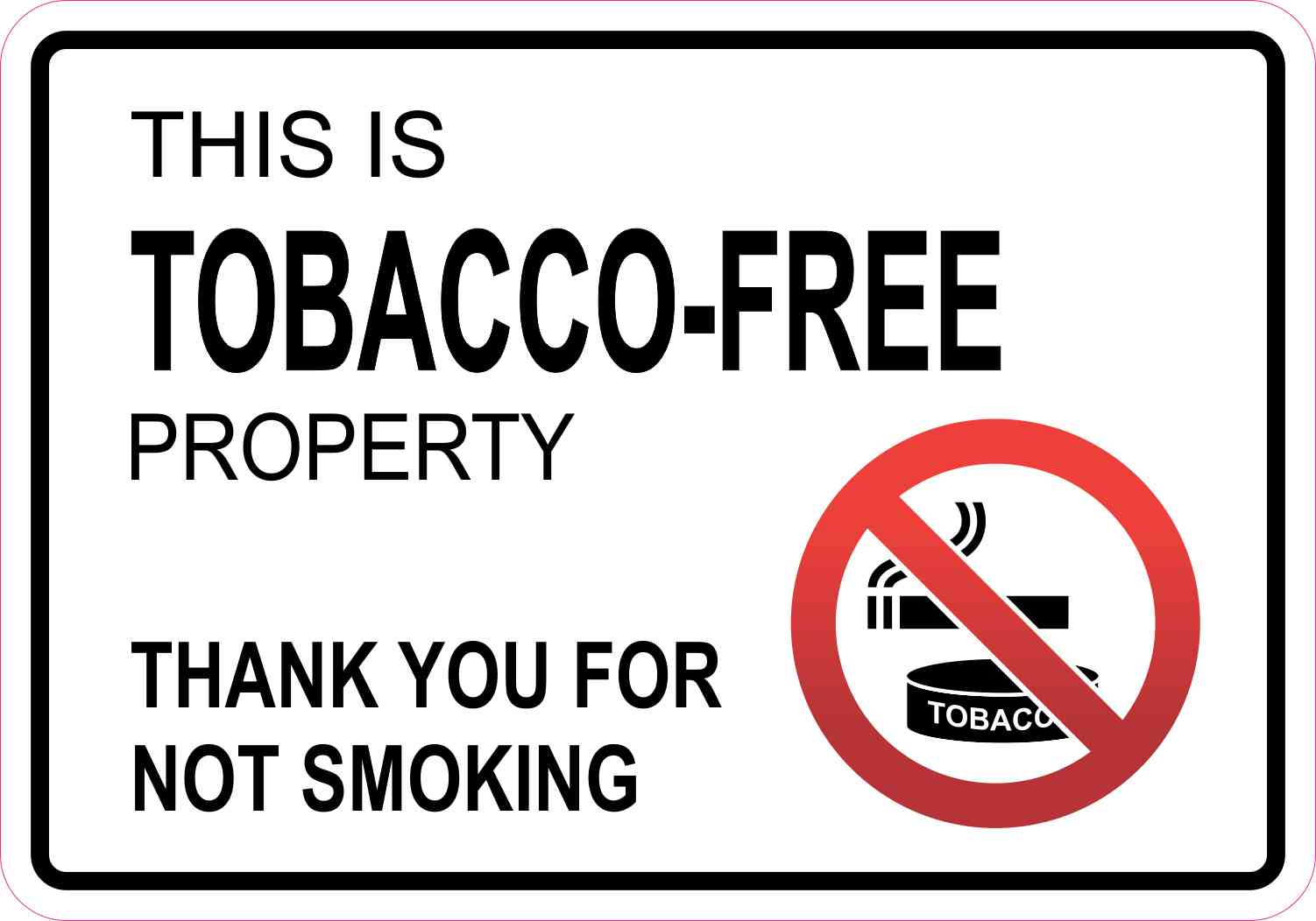 10in x 7in tobacco free property sticker vinyl smoking sign decal stickers