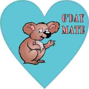 Koala Heart G'Day Mate Sticker