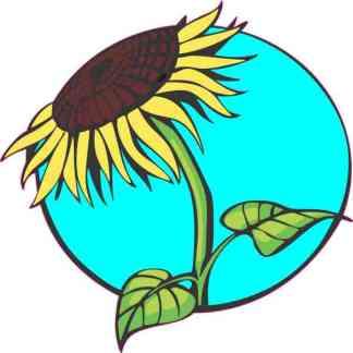 Teal Sunflower Sticker