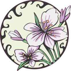 Circle Purple Flower Sticker