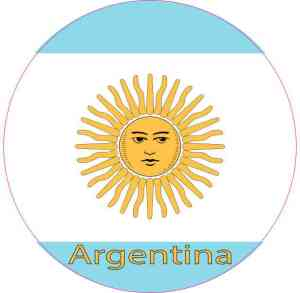 Labeled Circle Argentina Flag Sticker