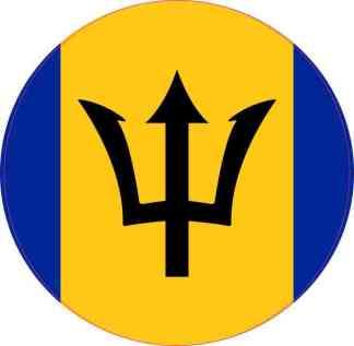 Round Barbados Flag Sticker