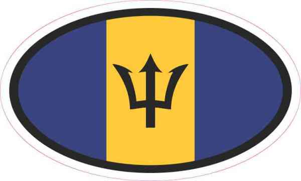 Oval Barbados Flag Sticker
