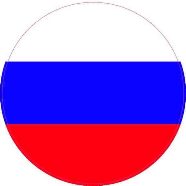 Round Russia Flag Sticker
