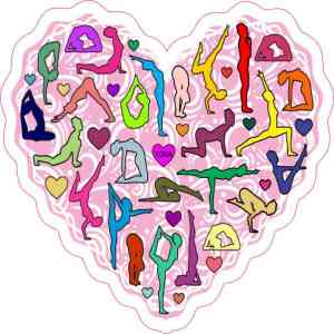 Pink Yoga Heart Sticker