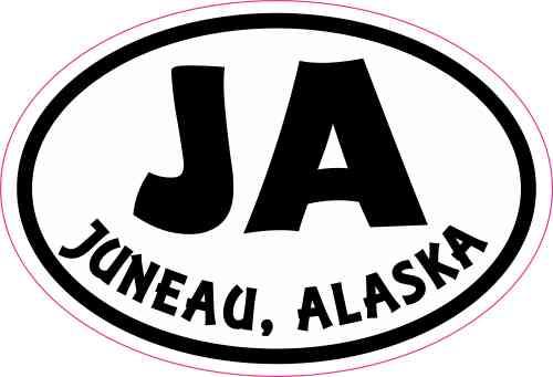 Oval JA Juneau Alaska Sticker