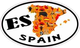 Oval ES Spain Sticker