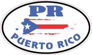 Oval PR Puerto Rico Sticker