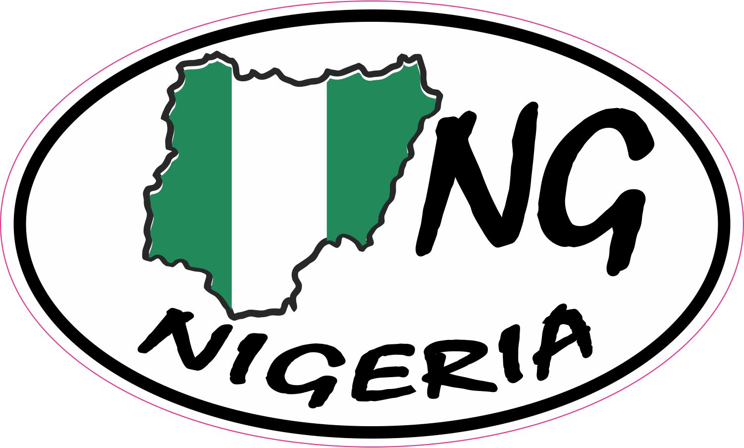 Oval NG Nigeria Sticker