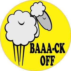 Yellow Baaa-ck Off Sheep Bumper Sticker