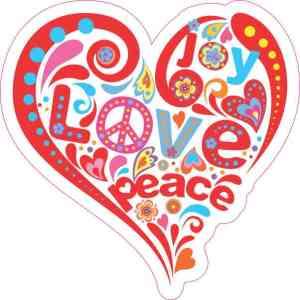 Joy Love Peace Heart Sticker