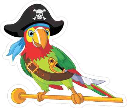 Right Facing Pirate Parrot Sticker