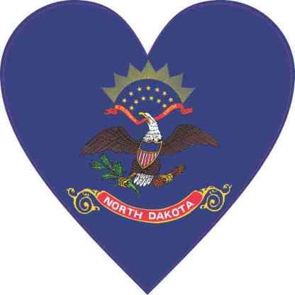 North Dakota Flag Heart Sticker