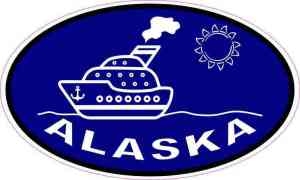 Blue Oval Cruise Ship Alaska Sticker