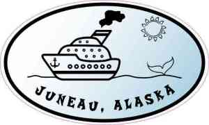 Blue Oval Whale Cruise Ship Juneau Alaska Sticker