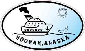 Blue Oval Cruise Ship Hoonah Alaska Sticker