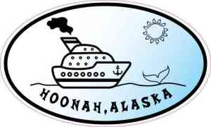Blue Oval Cruise Ship Hoonah Alaska Sticker
