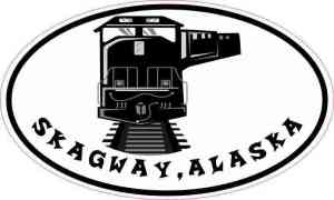 Oval Train Skagway Alaska Sticker