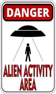 Black and Red Danger Alien Activity Area Sticker