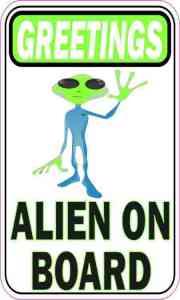 Greeting Alien on Board Sticker