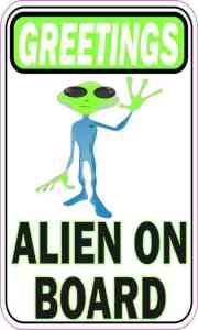 Greeting Alien on Board Sticker