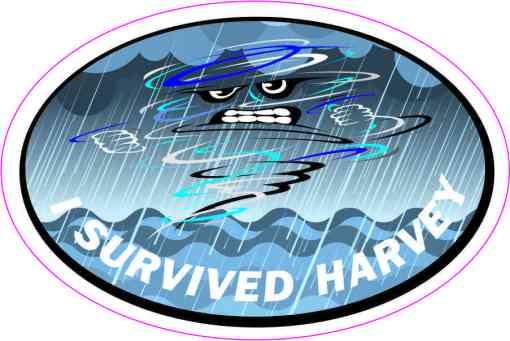 Oval I Survived Harvey Sticker