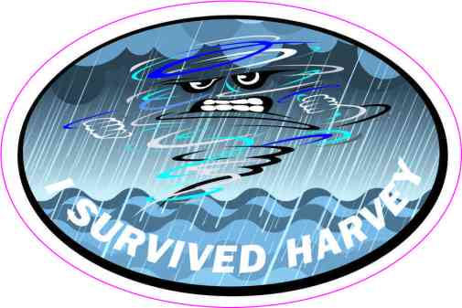 Oval I Survived Harvey Sticker