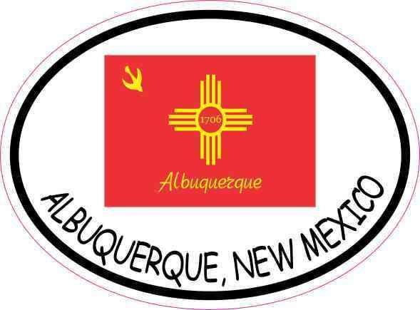 4 X 3 Oval Albuquerque New Mexico Flag Sticker Vinyl Car
