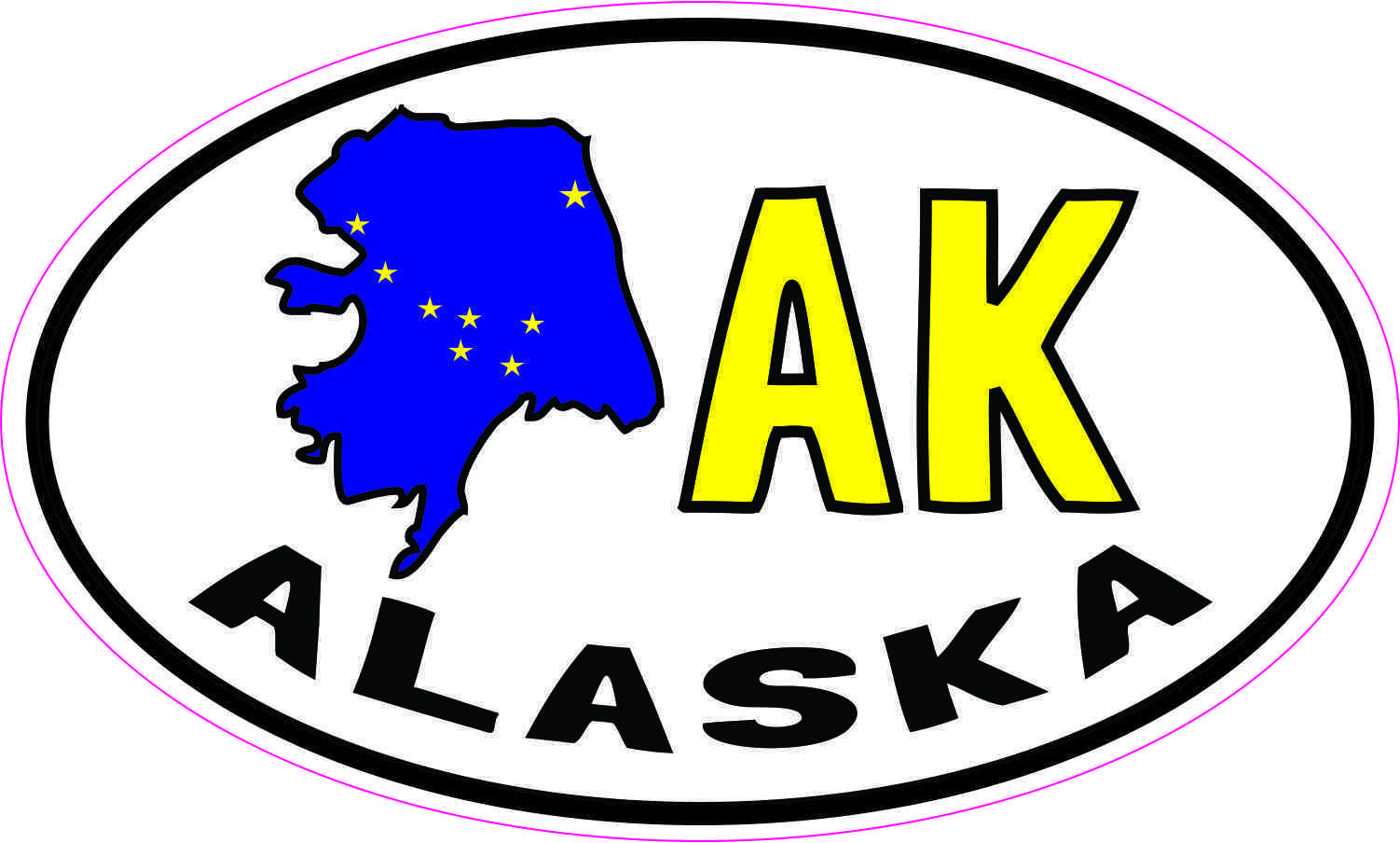Alaska State Flag Oval Vinyl Sticker Decal