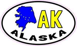 Oval AK Alaska Sticker