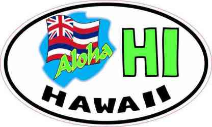 Oval Aloha Hawaii Flag Sticker