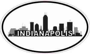 Oval Indianapolis Skyline Sticker