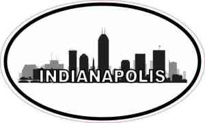 Oval Indianapolis Skyline Sticker